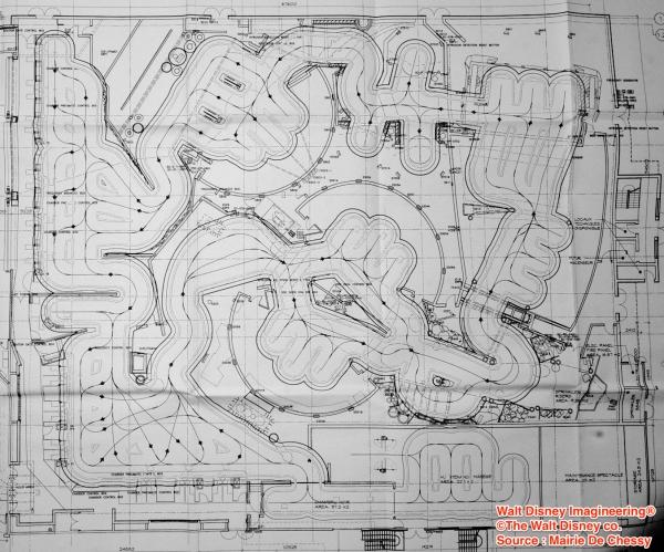 Plano de la atracción basada en Ratatouille con los posibles recorridos de los vehículos