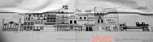 """Perspectiva de las fachadas de la atracción y restaurante desde el edificio de """"Imagination"""""""