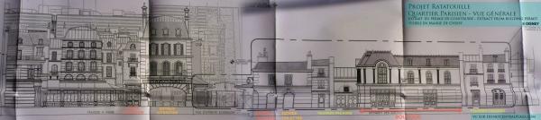 Fachadas, de izquierda a derecha, de las colas de la atracción, máquinas Fast Pass, aseos y tienda