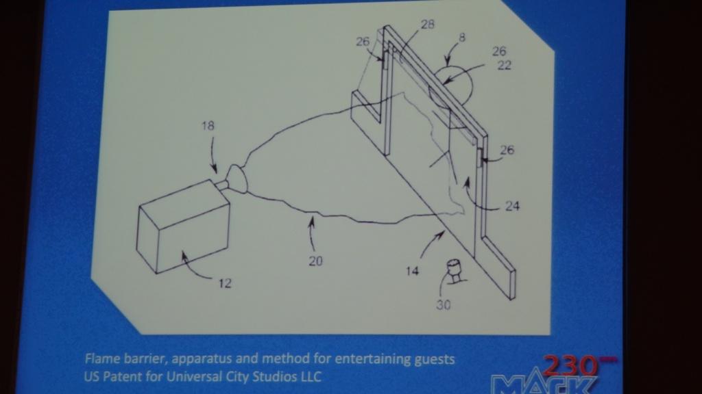 Sistema de Lanzallamas patentado por Universal Studios en el que la llama es lanzada a los visitantes protegidos por una barrera