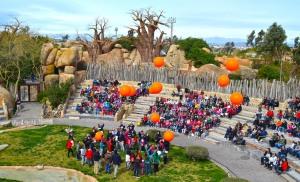 6º aniversario de Bioparc Valencia - suelta de globos con mensaje conservacionistas